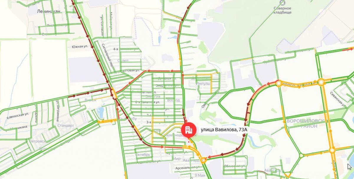 Ситуация на дорогах на 9:52