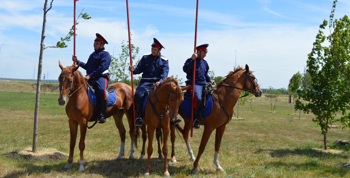 Что за казак без коня? Лошади здесь тоже были. Фото называется «Три богатыря».