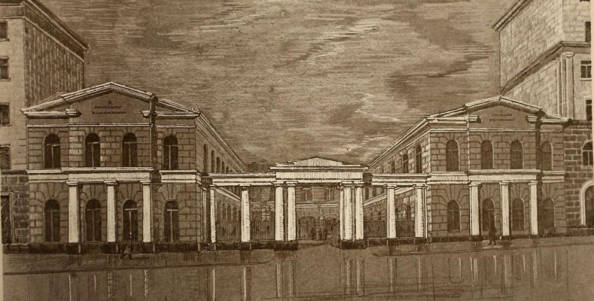 Проект капитального ремонта и реконструкции здания по улице Энгельса, 87 (1951 год). Колонны, которые сегодня расположены на входе во двор музея, должны были быть продолжены по фасаду здания.