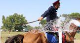 Сабля – незаменимый атрибут казака. И в умелых руках она способна разрезать даже воду.