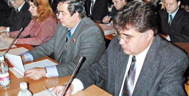Депутаты С.А. Воронцов, М.А. Бойко, Р.Г. Санамов, В.Ю. Лазарев во время заседания Думы